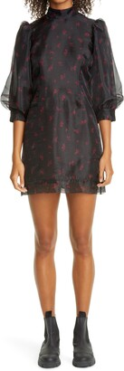 Ganni Floral Print Organza Short Shift Dress