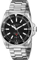 Gucci YA136301 Men's Dive Wrist Watches, Dial, Silver Band
