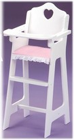 The Well Appointed House Child۪s White Doll High Chair w/Plate, Bib, and Spoon