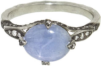 Cathy Waterman Blue Star Sapphire Petal Side Ring - Platinum