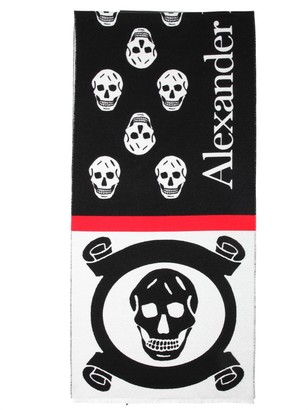 Alexander McQueen Skull Jacquard Wool & Cotton Scarf