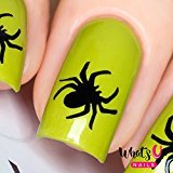 Whats Up Nails - Spider Nail Stencils Stickers Vinyls for Nail Art Design (1 Sheet, 20 Stencils)