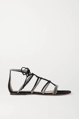 Gianvito Rossi Crystal-embellished Suede Sandals - Black