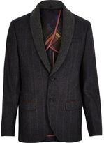 River Island MensNavy checked shawl collar slim blazer