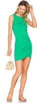 Bobi Supreme Jersey Ruched Bodycon Dress in Green. - size L (also in M,S,XS)