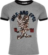 River Island Girls grey retro wild sequin print T-shirt