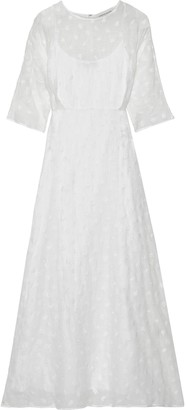 Mansur Gavriel Embroidered Linen-blend Gauze Maxi Dress
