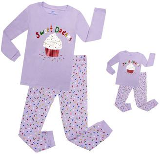 Elowel Girls' Sleep Bottoms Lavender - Lavender 'Sweet Dreams' Cupcake Pajama Set & Doll Outfit - Toddler