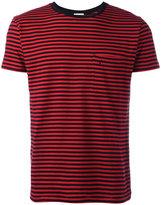 Saint Laurent striped logo embroidered T-shirt - men - Cotton - M