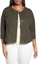 Sejour Plus Size Women's Collarless Trucker Jacket