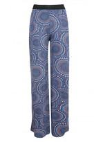 Select Fashion Fashion Womens Blue Psychedelic Print Palazzo - size 10