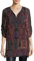 Tolani Adora 3/4-Sleeve Embroidered Printed Tunic