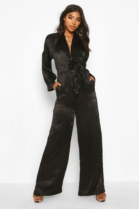 boohoo Tall Plunge Wide Leg Jumpsuit