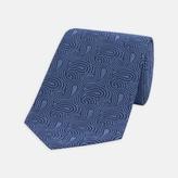 Turnbull & Asser Paisley Swirls Tonal Blue Silk Tie