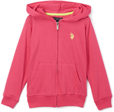 U.S. Polo Assn. Hot Pink & Yellow Zip-Up Hoodie - Girls