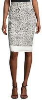 Carolina Herrera Splatter-Print Pencil Skirt, White/Black