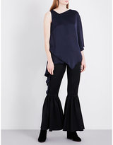 Osman Ladies Navy Asymmetric Neckline Modern Auriane Satin Top