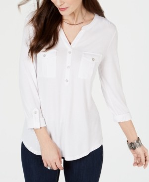 Style&Co. Style & Co Split-Neck Roll-Tab-Sleeve Top, Created for Macy's