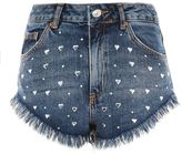Topshop MOTO Heart Stud Kiri Shorts