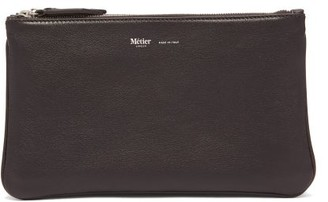 Métier Metier - Larger Things Trio Leather And Linen Pouch - Brown Multi
