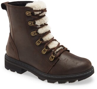 Sorel Lennox Lace-Up Boot with Genuine Shearling Trim