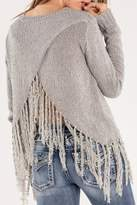Miss Me Grey Fringe Sweater