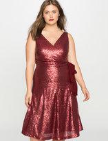 ELOQUII Plus Size Sleeveless Sequin Wrap Dress