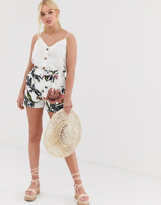 Qed London tie waist shorts in multi floral