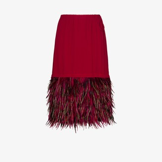 Dries Van Noten Scotti feather trim skirt
