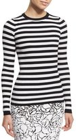 Michael Kors Striped Crewneck Sweater, White/Black