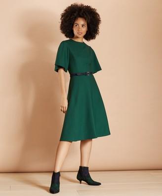 Brooks Brothers Wool-Blend Twill Bell-Sleeve Midi Dress