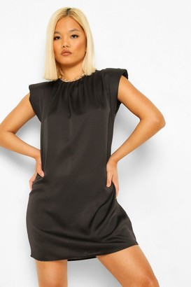 boohoo Petite Satin Shoulder Pad Mini Dress