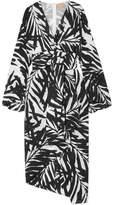 Michael Kors Asymmetric Printed Silk Crepe De Chine Midi Dress - Black