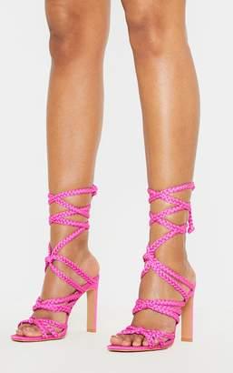 PrettyLittleThing Fuchsia Plaited Square Toe Lace Up Sandal