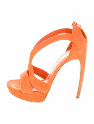 Alexander McQueen Calf Leather Sandals Orange