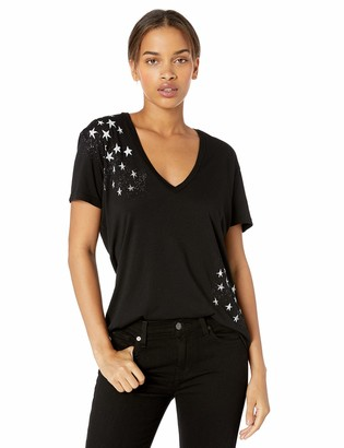 Monrow Women's Black Relaxed V w/Faded Stars