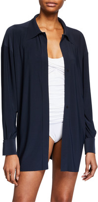 Norma Kamali Oversized Boyfriend Beach Shirt Coverup