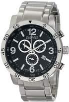 August Steiner Men's AS8097SSB Swiss Quartz Chronograph Black Dial Silver-tone Bracelet Watch