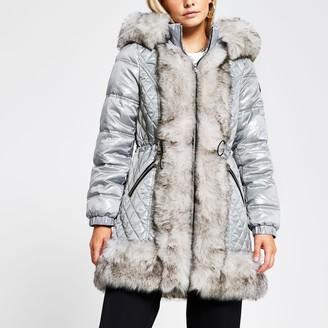 River Island Womens Petite Grey faux fur padded hooded coat