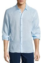 Orlebar Brown Morton Long-Sleeve Linen Shirt, Sky Blue