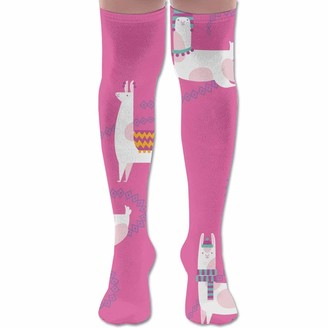 Wh Cla Stocking Pink Dancing Llama Cozy Novelty Womens Printed Thigh High Socks Over Knee Leg Warmers Compression Socks Girls Dress Casual Outdoor Long Socks Over Knee High Boot Sock Cosp