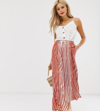 Asos Tall DESIGN Tall cropped drawstring pants in natural stripe-Multi