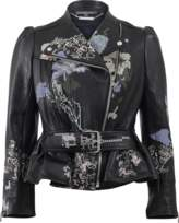 Alexander McQueen Cross-Stitch Peplum Leather Jacket