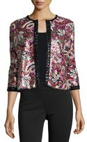 Michael Simon Paisley Sequined Cardigan, Plus Size