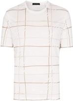 Ermenegildo Zegna embroidered check print T-shirt