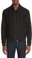 Armani Collezioni Men's Trim Fit Mesh Bomber Jacket