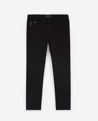 The Kooples Stretch black cotton trousers, leather pocket