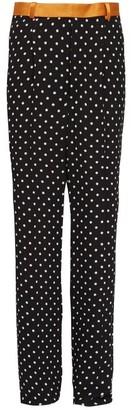 Haider Ackermann Caporal Contrast-waist Polka-dot Crepe Trousers - Womens - Black Multi