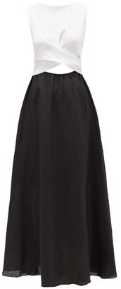 Gül Hürgel Colour-block Linen Midi Dress - Womens - Black White