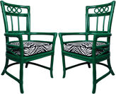 One Kings Lane Vintage Ficks Reed Zebra Colony Chairs, Pair